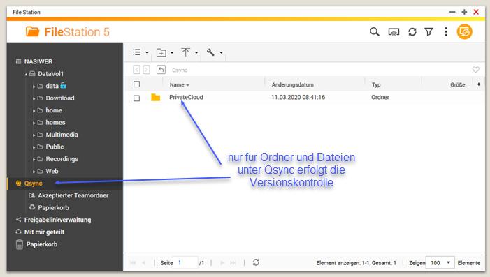 Screenshot FileStation Auswahl Qsync und Ordner unter Qsync