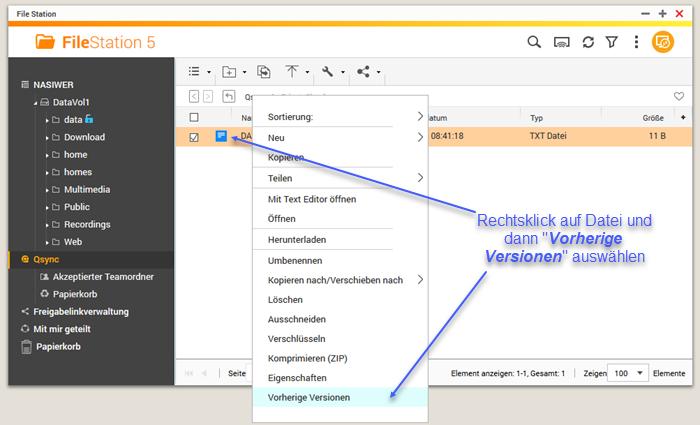 Screenshot Rechtsklick Vorherige Version wiederherstellen