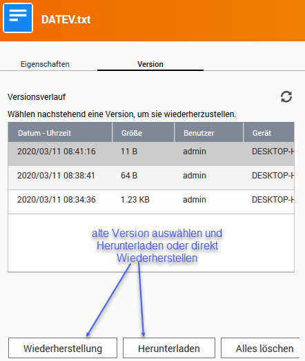 Screenshot QNAP Vorherige Versionen