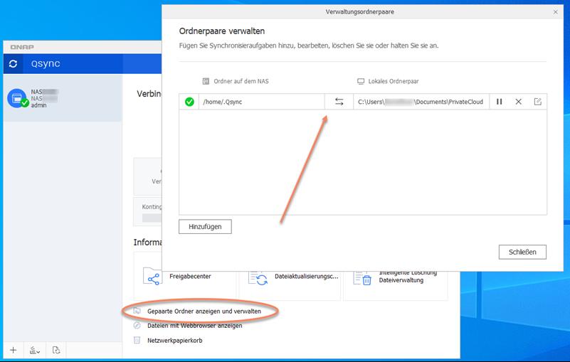 Screenshot QSync-Client Ordner paaren für Synchronisierung