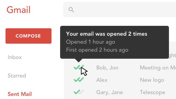 Gmail Screenshot mit Mailtrack