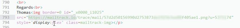 Screenshot HTML-Code der E-Mail