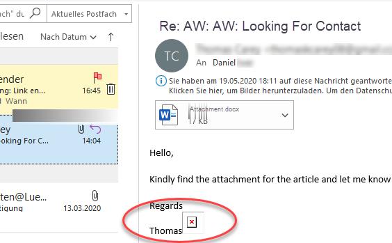 Screenshot Outlook mit nicht geladenem Tracking-Pixel als rotes Kreuz