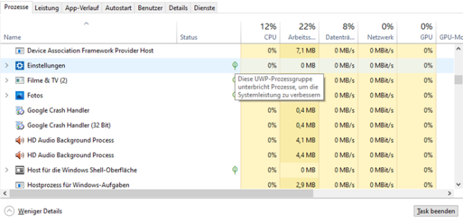 Screenshot Task-Manager UWP-Prozessgruppe unterbricht Prozesse