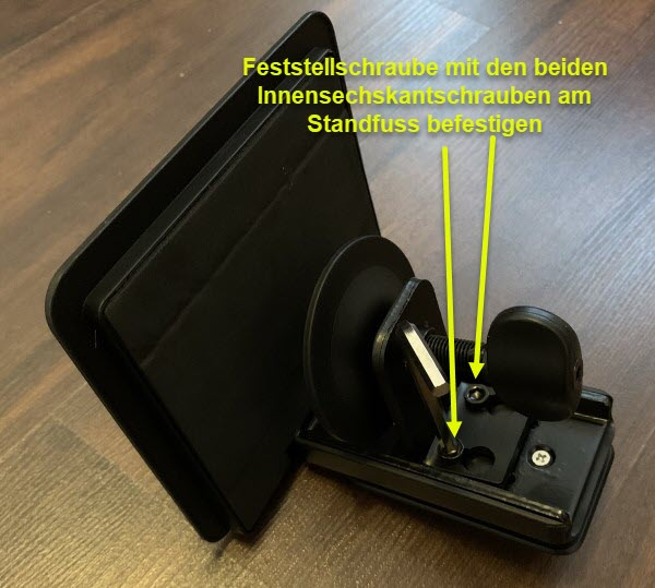Foto Schritt 1 Feststellschraube am Standfuss montieren