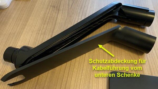 Foto unterer Schenke des Monitorarm mit Schutzabdeckung für Kabelführung