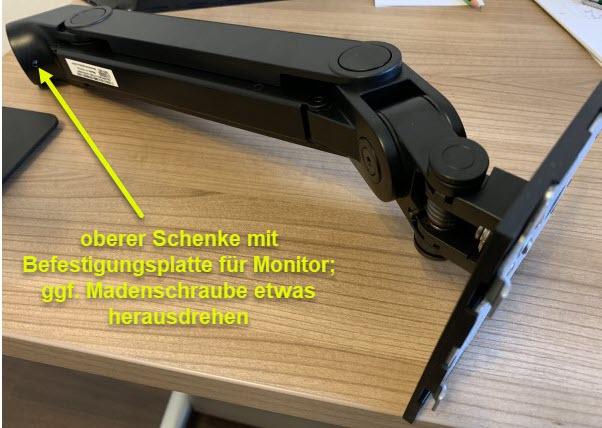 Foto des oberen Schenkel vom Monitor-Einzelarm Dell MSA14