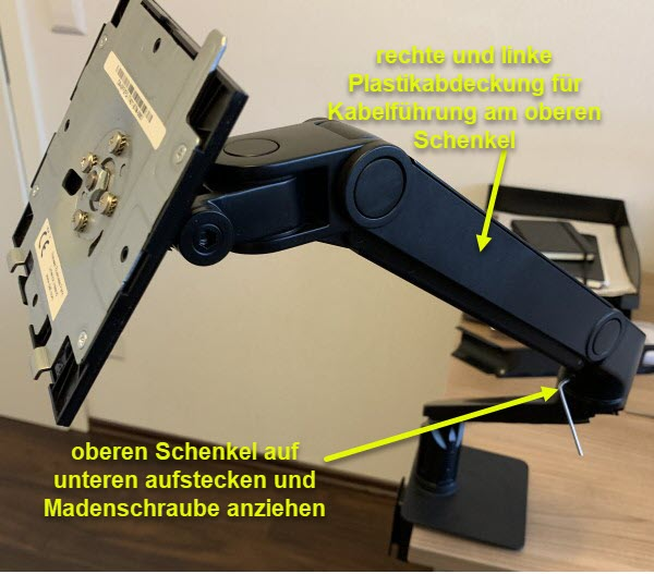 Foto oberen Schenkel des Monitorarm auf unteren Schenkel montieren