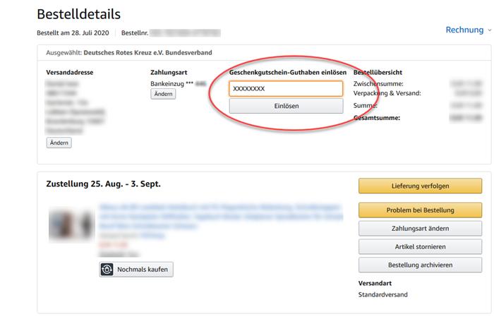 Screenshot Amazon Bestelldetails mit Option zum nachträglichen einlösen des Gutscheins