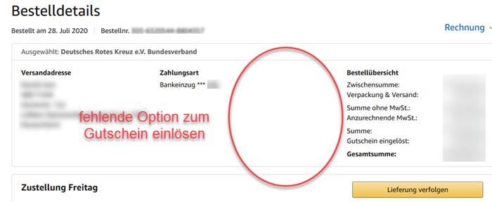 Screenshot Amazon Bestelldetails ohne Option zum Gutschein einlösen