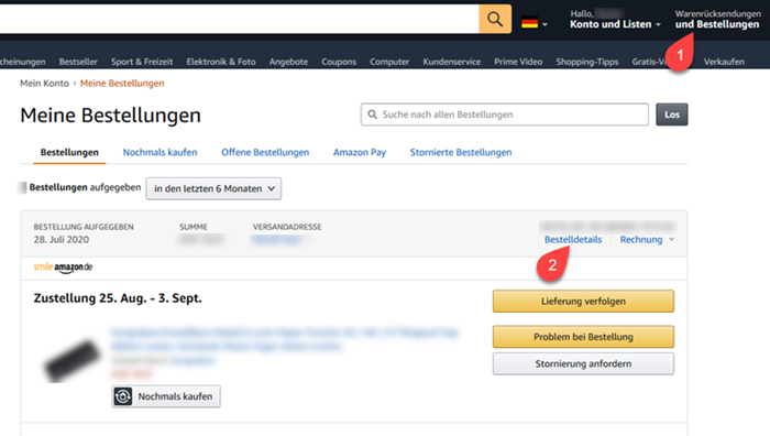 Screenshot Amazon Bestellübersicht