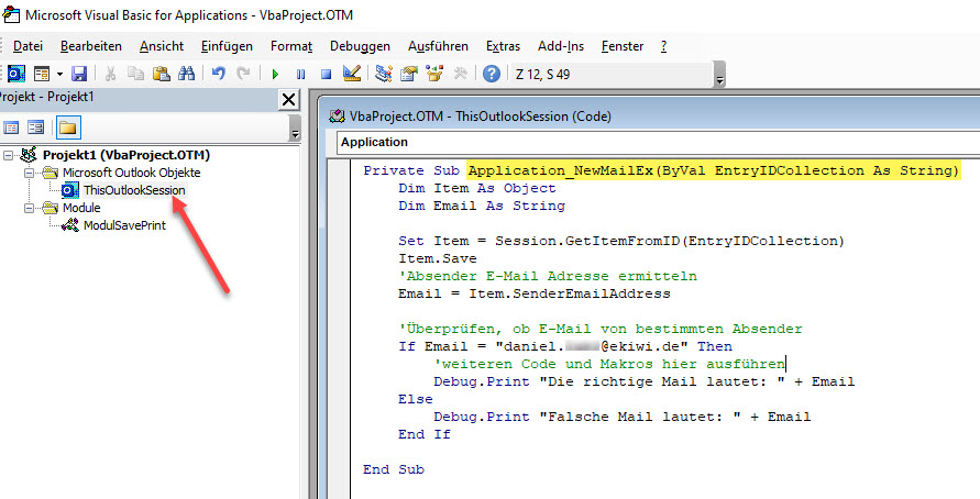 Screenshort Visual Basic Editor Outlook