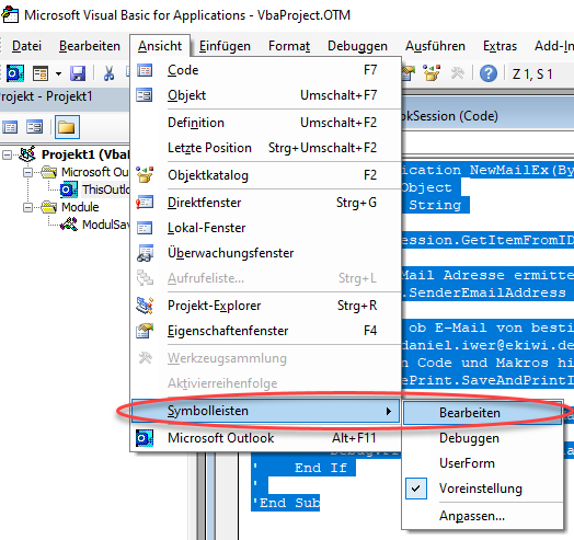 Screenshot VBA-Editor Symbolleiste Bearbeiten einblenden