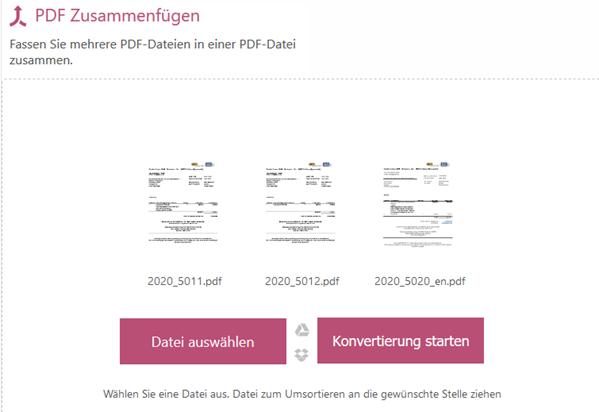 PDF-Dateien online zusammenfügen zu einer Datei
