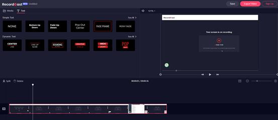 Screenshot Aufnahmen bei Recordcast organisieren