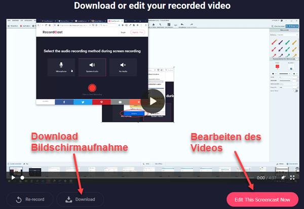Screenshot des fertigen Videos/Bildschirmaufnahme auf Recordcast