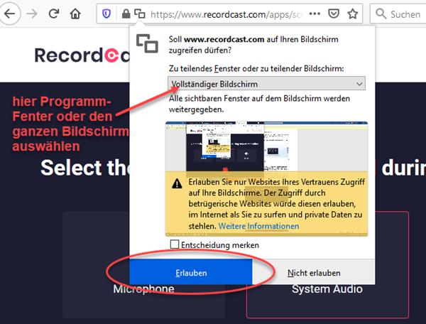 Screenshot Zugriffsrechte im Browser erlauben