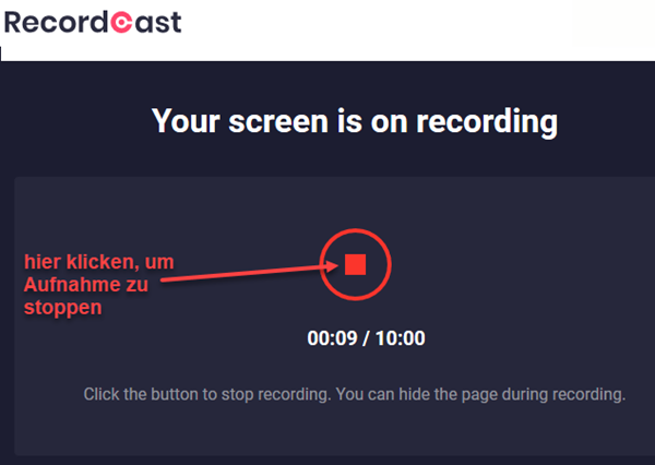 Screenshot Bildschirmaufnahme bei Recordcast beenden