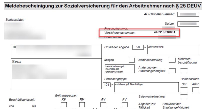 Auszug Meldebescheinigung zur Sozialversicherung für den Arbeitnehmer nach §25 DEÜV