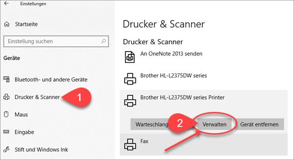 Screenshot Windows 10 Einstellungen Drucker verwalten