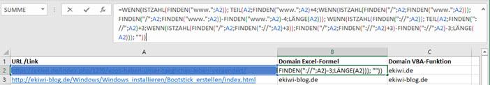 Screenshot Excel-Funktion zum Bestimmen des Domainnamens aus einer Internetadresse