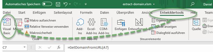 Excel-Screenshot VBA-Editor über Entwicklertools öffnen