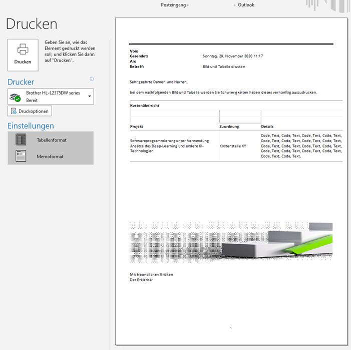 Screenshot Outlook Seitenansicht/Druckansicht mit abgeschnittenen Inhalten