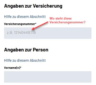 Screenshot Online Anfrage von Renteninformationen bei der Deutschen Rentenversicherung