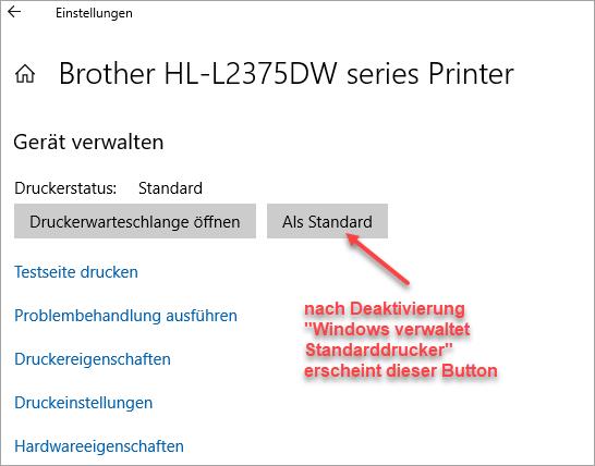 Screenshot Drucker unter Windows 10 verwalten