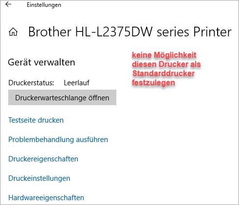 Screenshot Drucker Druckereinstellungen unter Win10