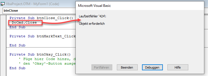 Screenshot Entwicklungsumgebung VBA mit Code DoCmd.Close