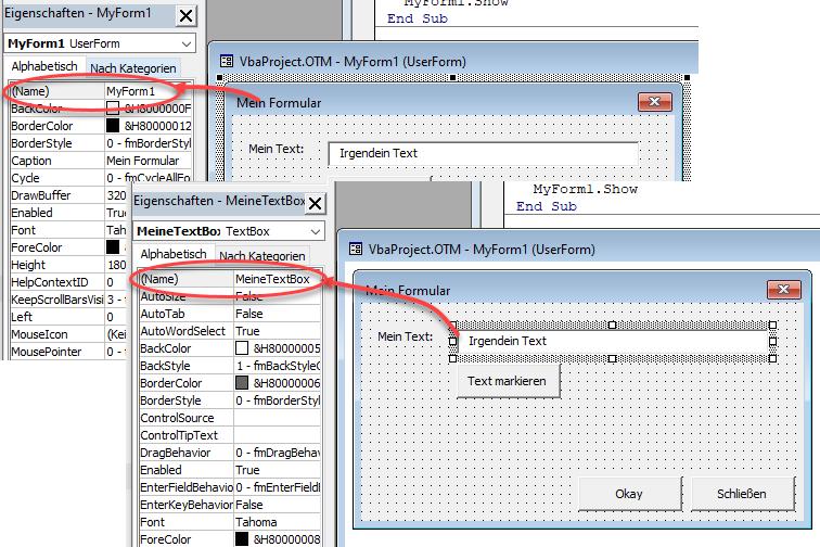 Screenshot VBA Formulareigenschaften festlegen