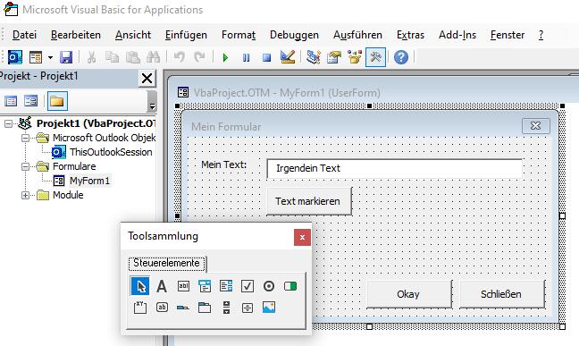 Screenshot Entwurfsansicht eines Beispielformulars