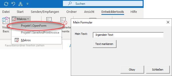 Screenshot Formular über Makro anzeigen