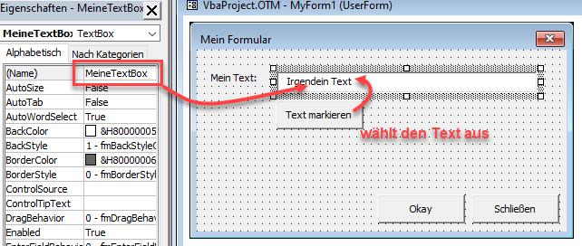 Screenshot VBA Textbox in der Entwurfsansicht mit Button zum Text markieren