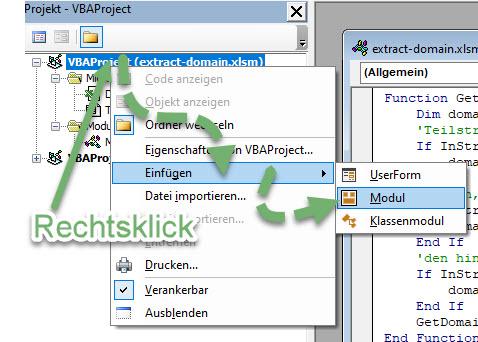 Screenshot Visual-Basic-Editor Kontextmenü Modul einfügen