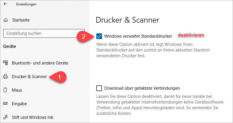 Screenshot Windows 10 Einstellungen Drucker & Scanner