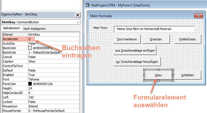 Screenshot VBA-Formular in Entwurfsansicht mit Accelerator-Eigenschaft
