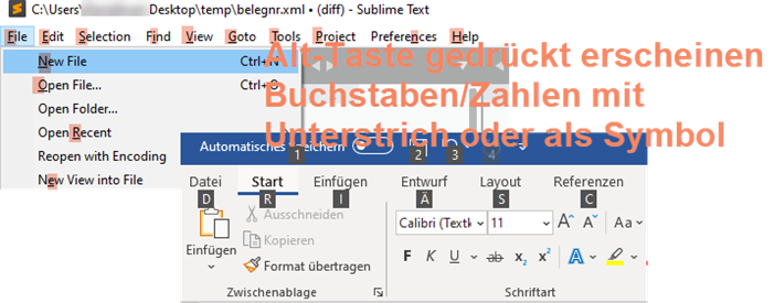 Screenshot Alt-Shortcut Bedienungshifen
