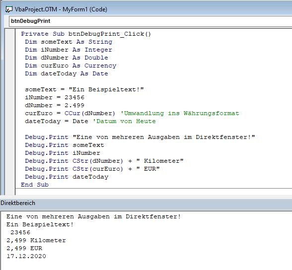 Screenshot VBA-Code und Direktfenster mit Debug.Print-Ausgaben