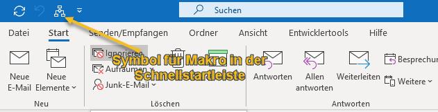 Screenshot Outlook Schnellstartleiste