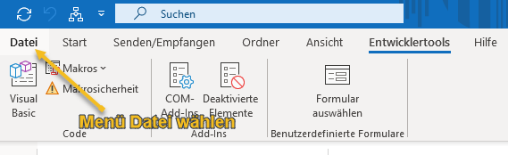 Screenshot Menüband Microsoft Outlook