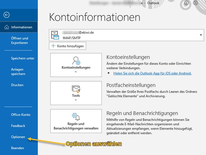 Screenshot Outlook Kontoinformationen und Optionen