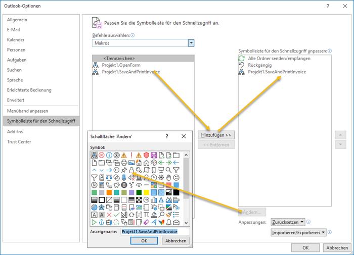 Screenshot Outlook Schnellzugriffsleiste anpassen