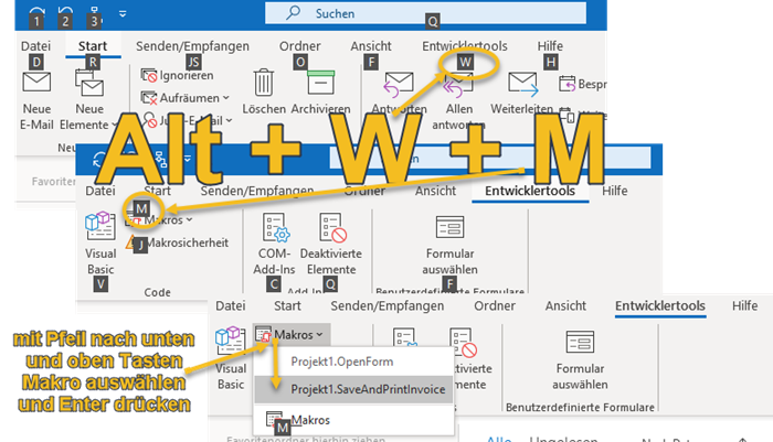 Screenshot Outlook Menüband mit Alt-Shortcuts