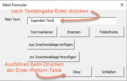 Beispiel eines VBA Userform nach Texteingabe Enter-/Return-Taste drücken