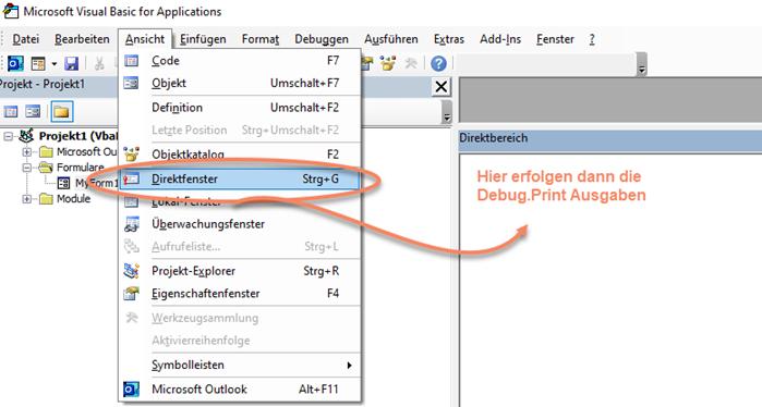Screenshot VBA Menü Ansicht Direktfenster zum Anzeigen des Direktbereichs