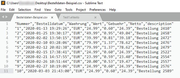 Screenshot der CSV-Datei in einem Texteditor