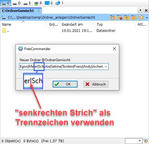 Screenshot FreeCommander neue Verzeichnisse anlegen