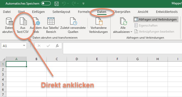 Screenshot Excel 365 Menü Daten Button Aus Text/CSV